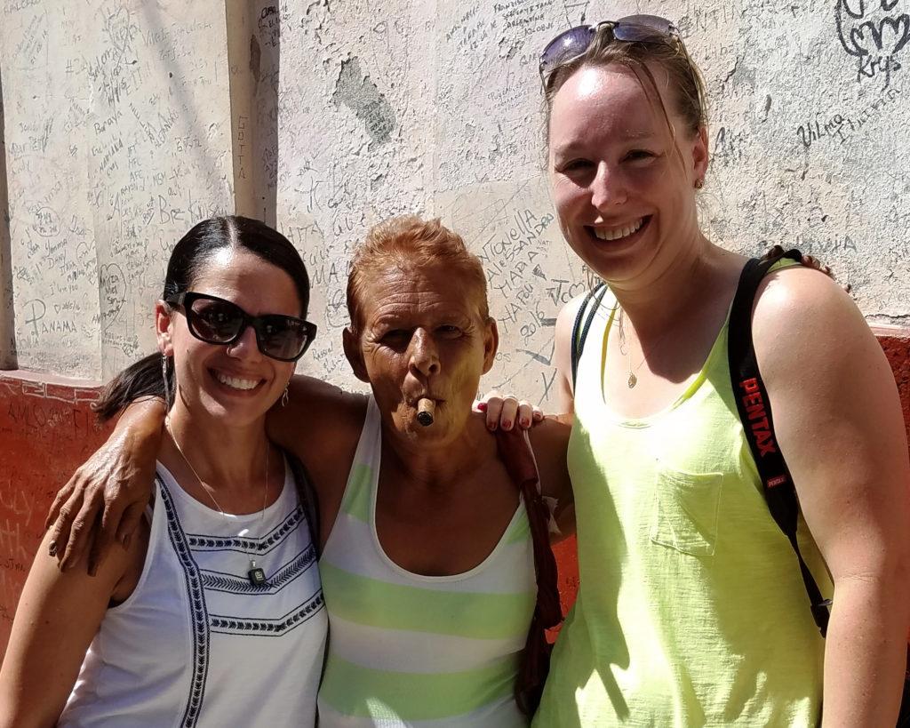 AO Members Kelly Johnson and Tana Weingartner with local Cuban - photo by Tana Weingartner