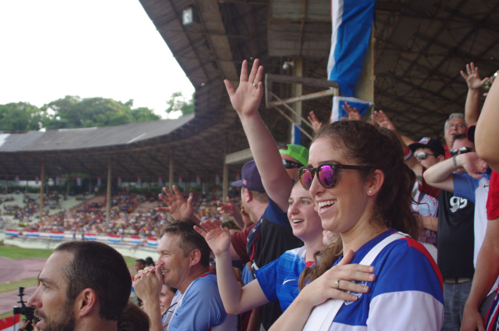 AO in the stands for USA vs. Cuba - Photo by: Tana Weingartner